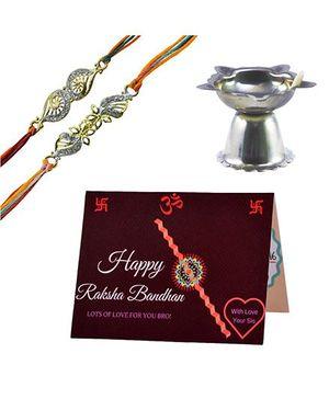 Angel Glitter Alpha Man Rakhi Bandhan ka Promise CZ Diamond Studded Rakhi With Diya - Set of 2