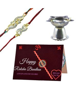 Angel Glitter Alpha Man Rakhi Pooja Samagri CZ Diamond Studded Rakhi With Diya - Set of 2