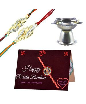 Angel Glitter Alpha Man My Best Friend, My Bro CZ Diamond Studded Rakhi With Diya - Set of 2