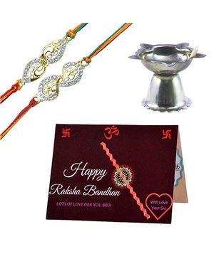 Angel Glitter Alpha Man Raksha Bandhan ki Tayyari CZ Diamond Studded Rakhi With Diya - Set of 2