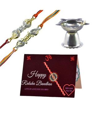Angel Glitter Alpha Man Didi ki Hifasat Bhai ki Zimmedaari Diamond Studded Rakhi With Diya - Set of 2