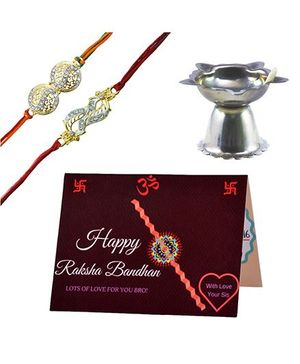 Angel Glitter Alpha Man My Brother My Bodyguard CZ Diamond Studded Rakhi With Diya - Set of 2