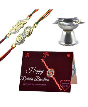 Angel Glitter Alpha Man My Bro 1 In A Million CZ Diamond Studded Rakhi With Diya - Set of 2