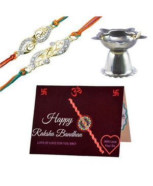 Angel Glitter Alpha Man I Will always Be There For You CZ Diamond Studded Rakhi With Diya - Set of 2