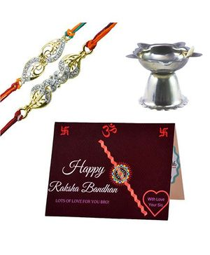 Angel Glitter Alpha Man Pyaara Sa Ehsaas Behna Ka Intezaar CZ Diamond Studded Rakhi With Diya - Set of 2