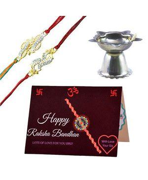 Angel Glitter Alpha Man Thread of Everlasting Love CZ Diamond Studded Rakhi With Diya - Set of 2