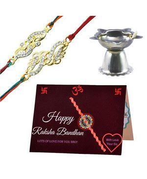 Angel Glitter Alpha Man BFF Forever CZ Diamond Studded Rakhi With Diya - Set of 2