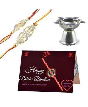 Angel Glitter Alpha Man Pyaar Vishwaas Aur Dulaar CZ Diamond Studded Rakhi With Diya - Set of 2