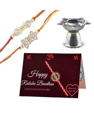 Angel Glitter Alpha Man Rakhi Gift Extraordinaire CZ Diamond Studded Rakhi With Diya - Set of 2