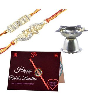 Angel Glitter Alpha Man Raksha Bandhan ki Tayyari CZ Diamond Studded Rakhi With Diya - Set of 2