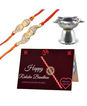 Angel Glitter Alpha Man CZ Diamond Studded Rakhi With Diya - Set of 2