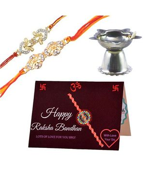 Angel Glitter Alpha Man My Brother Is My Superhero CZ Diamond Studded Rakhi With Diya - Set of 2