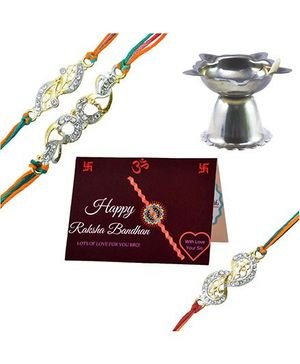 Angel Glitter Alpha Man Brother Sister Precious Family Bond CZ Diamond Studded Rakhi With Diya - Set of 2