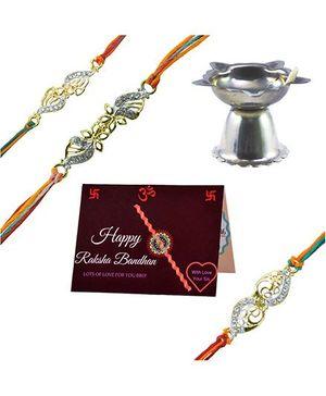 Angel Glitter Alpha Man Rakhi Blessing For My Bro CZ Diamond Studded Rakhi With Diya - Set of 2