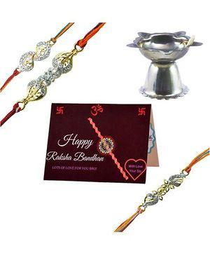 Angel Glitter Alpha Man Truly Blessed Family CZ Diamond Studded Rakhi With Diya - Set of 3