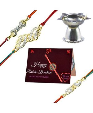 Angel Glitter Alpha Man Cherish The Bond of Family CZ Diamond Studded Rakhi With Diya - Set of 3
