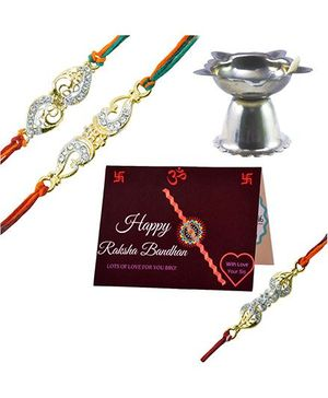 Angel Glitter Alpha Man My Secret Treasure My Family CZ Diamond Studded Rakhi With Diya - Set of 3