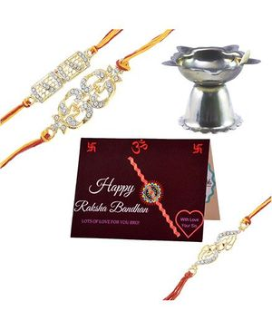 Angel Glitter Alpha Man Pyaara Sa Ehsaas CZ Diamond Studded Rakhi With Diya - Set of 3