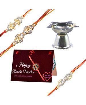 Angel Glitter Alpha Man Rakhi CZ Diamond Rakhi With Pooja Diya - Set Of 3