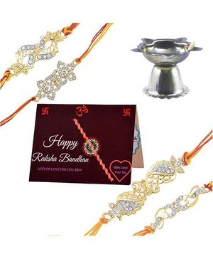 Angel Glitter Alpha Man Rakhi CZ Diamond Rakhi With Pooja Diya - Set Of 4
