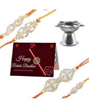 Angel Glitter Alpha Man Rakhi CZ Diamond Rakhi With Pooja Diya - Set Of 4