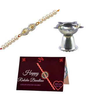 Angel Glitter Alpha Man My Brother CZ Diamond And Pearl Rakhi Set With Diya