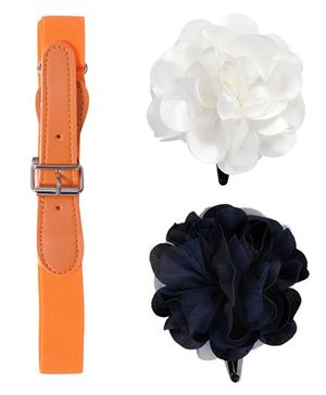 Miss Diva Belt & Rose Tic Tac Set - Orange & Navy & White