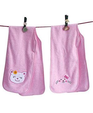 D'chica Set Of 2 Hey Little Kitty Burp Cloths - Pink