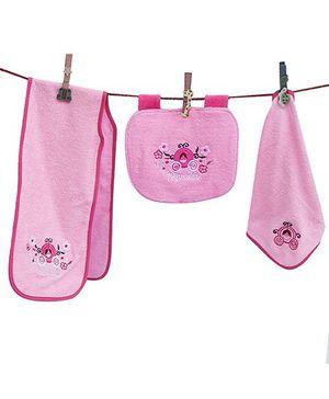 D'chica Princess Set Of 3- Burp Cloth, Bib & Wash Cloth - Pink