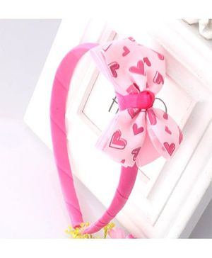 Angel Closet Heart Print Bow Applique Hairband - Pink