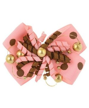 Angel Closet Bow With Pearls Hair Clip - Pink