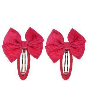 Angel Closet Beautiful Bow Clips Dark Pink  - Pair Of 2