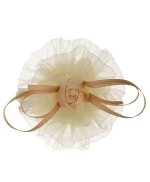 Angel Closet Rose Tulle Hair Clip - Beige