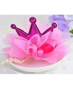 Angel Closet Crown Hair Clip - Bright Pink