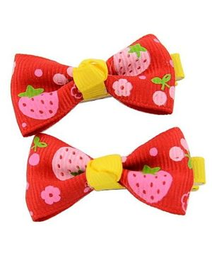 Angel Closet Strawberry Print Bow Hair Clips Red - Pair Of 2