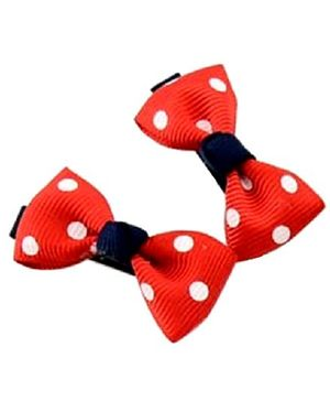 Angel Closet Polka Dots Bow Hair Clips Red  - Pair Of 2