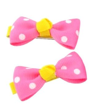 Angel Closet Polka Dots Bow Hair Clips Pink  - Pair Of 2