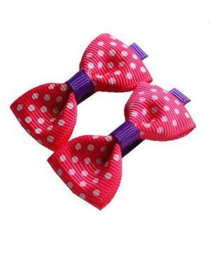 Angel Closet Polka Dots Bow Hair Clips Pink - Pair Of 2