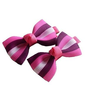 Angel Closet Striped Bow Hair Clips Pink & Purple - Pair Of 2
