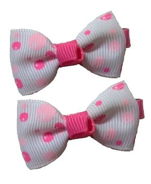 Angel Closet Cute Bow Hair Clips Pink & White - Pair Of 2