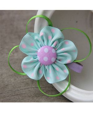 Angel Closet Dotted Flower With Ribbons Clip - Aqua Blue