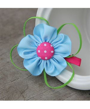 Angel Closet Dotted Flower With Ribbons Clip - Blue