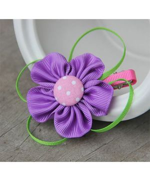 Angel Closet Dotted Flower With Ribbons Clip - Purple