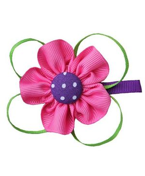 Angel Closet Dotted Flower With Ribbons Clip - Bright Pink