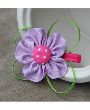 Angel Closet Dotted Flower With Ribbons Clip - Lavender