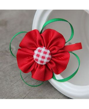 Angel Closet Dotted Flower With Ribbons Clip - Red