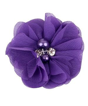 Angel Closet Chiffon Flower Hair Clip - Purple