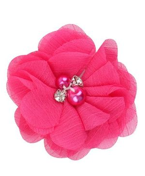 Angel Closet Chiffon Flower Hair Clip - Bright Pink