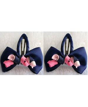 Angel Closet Bow Clips with Ribbons Navy Blue - Pair Of 2