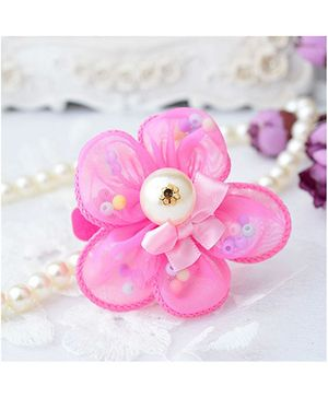 Angel Closet Flower Clip With Ribbons And Pearls - Bright Pink